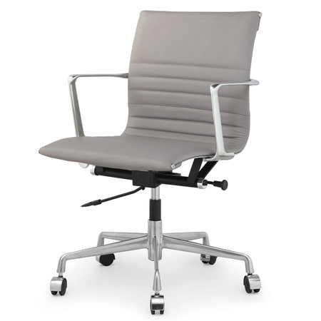 Grey Italian Leather M346 Modern Office Chairs Zin Home