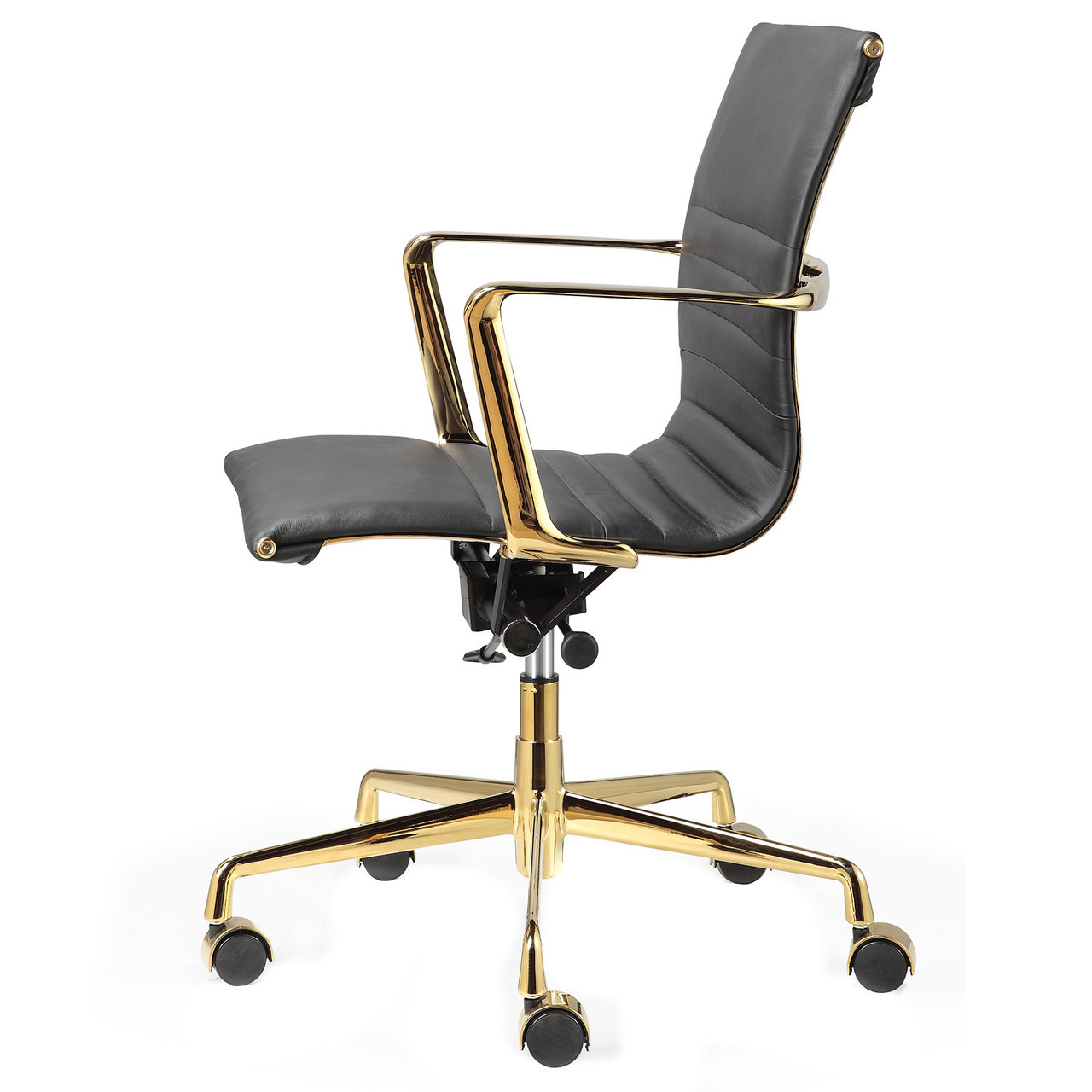 black italian leather + gold m346 modern office chairs | zin home