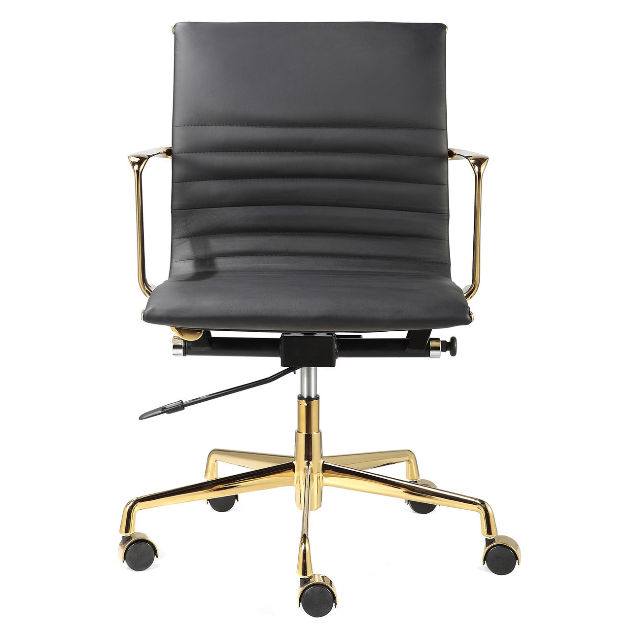 Black Italian Leather + Gold M346 Modern Office Chairs ...