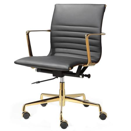 Black Italian Leather Gold M346 Modern fice Chairs