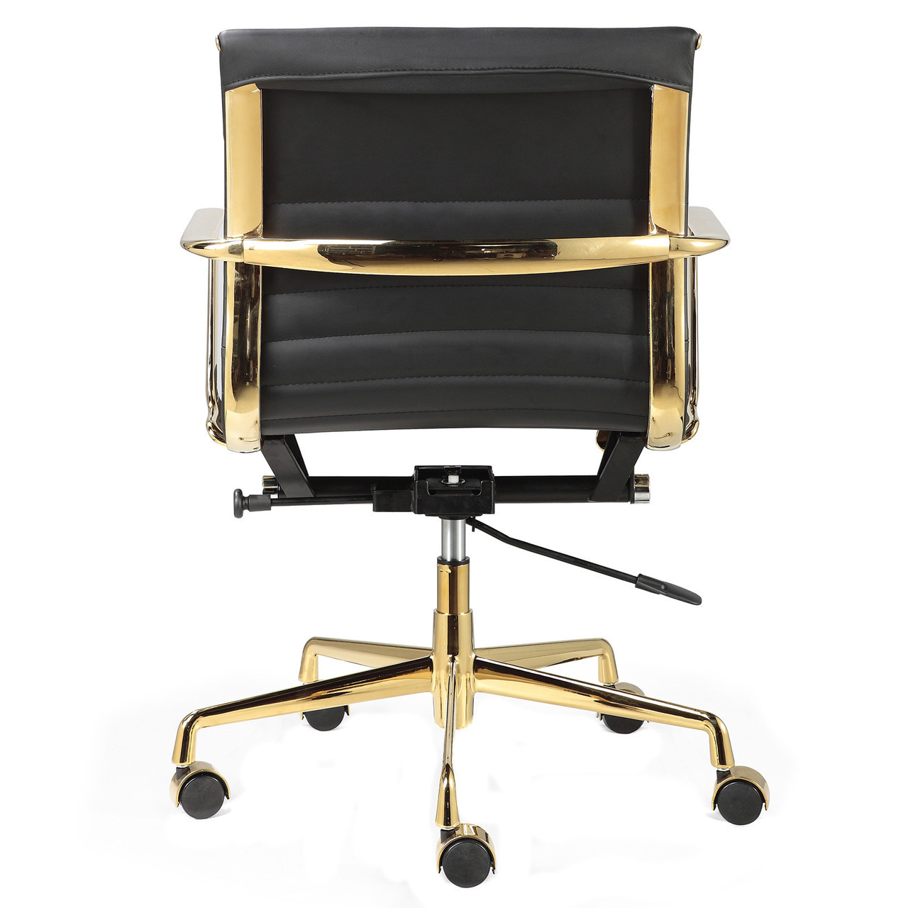 Modern leather office chair -  Contemporary Office Chairs M346 Gold And Black Leather Office Chairs
