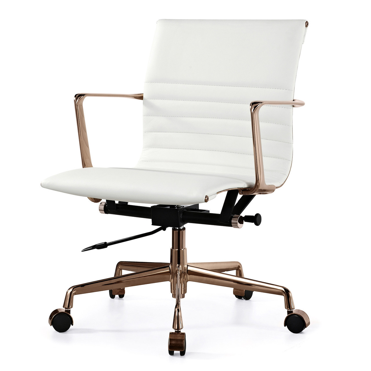 White Italian Leather + Gold M346 Modern Office Chairs ...