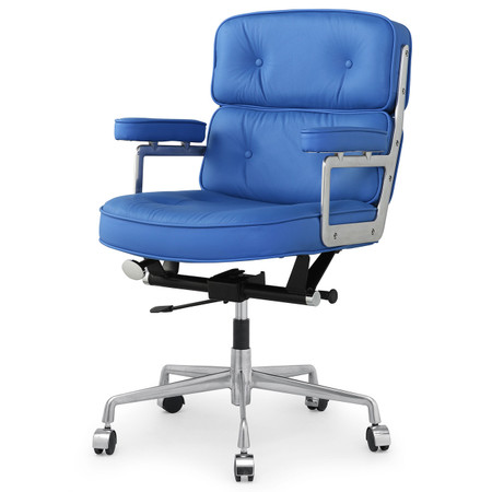 Blue Italian Leather M340 Executive Office Chair Zin Home