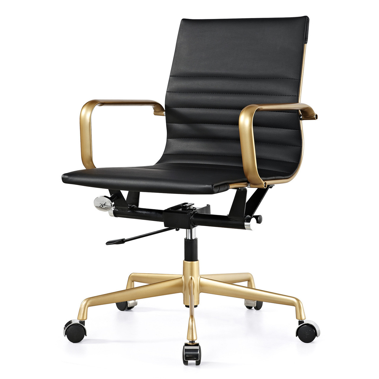 Gold and black vegan leather m348 modern office chairs for Modern leather office chairs