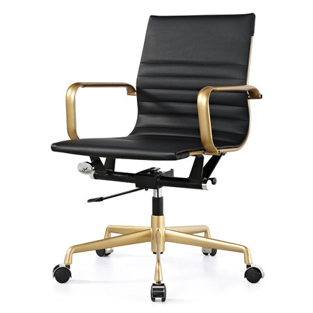 Gold And Black Vegan Leather M348 Modern Office Chairs