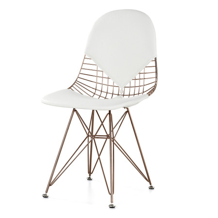 Rose Gold Wire White Leather M245 Modern Wire Chair
