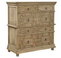 Oxford Solid Wood Hand Carved Rustic 5 Drawer Chest