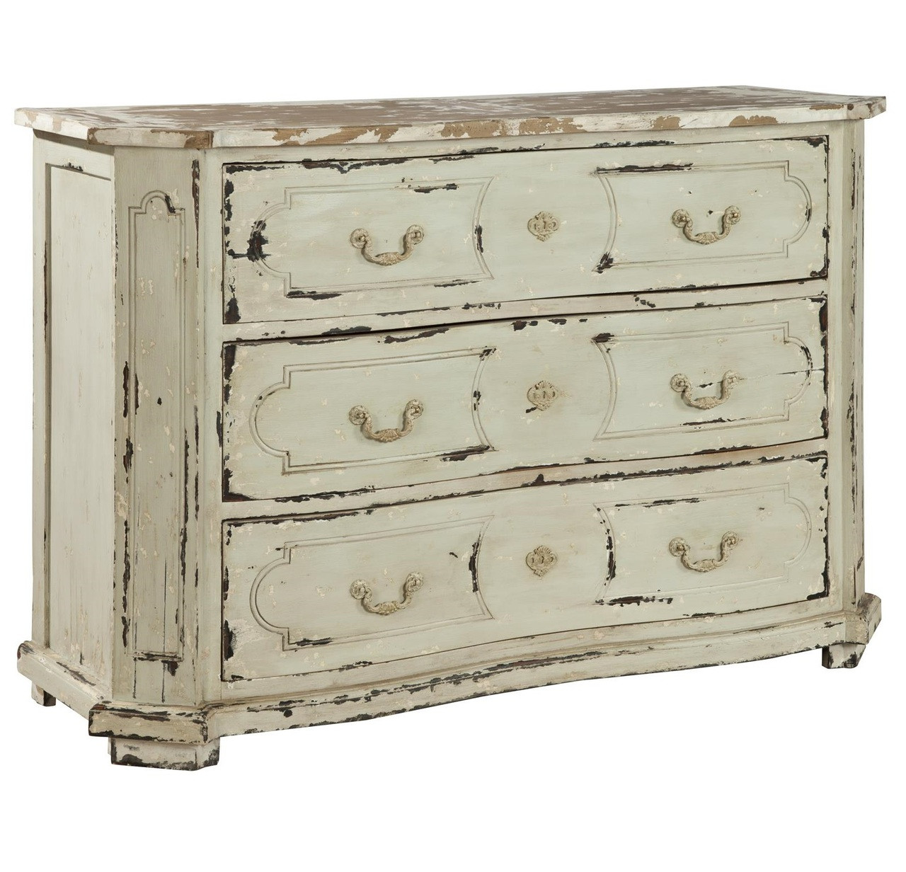 Avignon Solid Wood Vintage White 3 Drawer Chest Zin Home