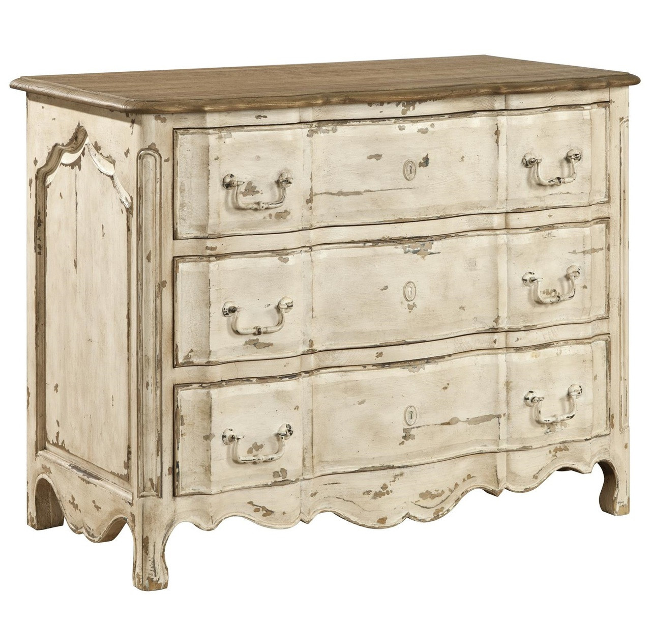 Delacroix vintage white french country 3 drawer chest for French country white