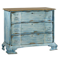 La Grande Vintage French Aged Blue 3 Drawer Chest