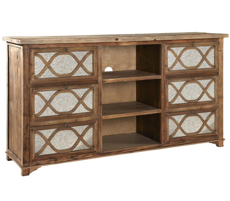 French Lattice Reclaimed Wood Mirrored Media Cabinet