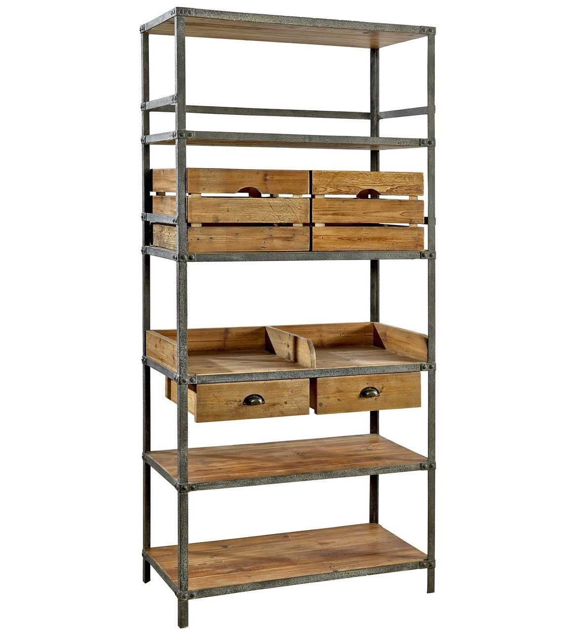 Breeland Industrial Metal + Wood Bookcase With Storage