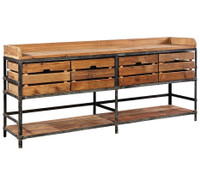 Breeland Industrial Metal + Wood Sideboard with Storage Bins