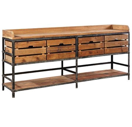 Breeland Industrial Metal Wood Sideboard With Storage