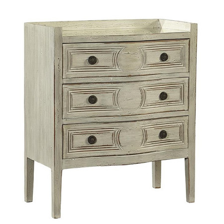 Farrow French Gray 3 Drawer Mirrored Small Chest