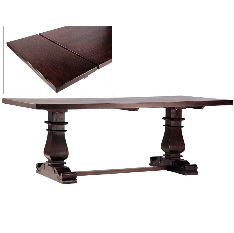 Lauren dark wood trestle extension dining table 120 zin for Large dark wood dining table