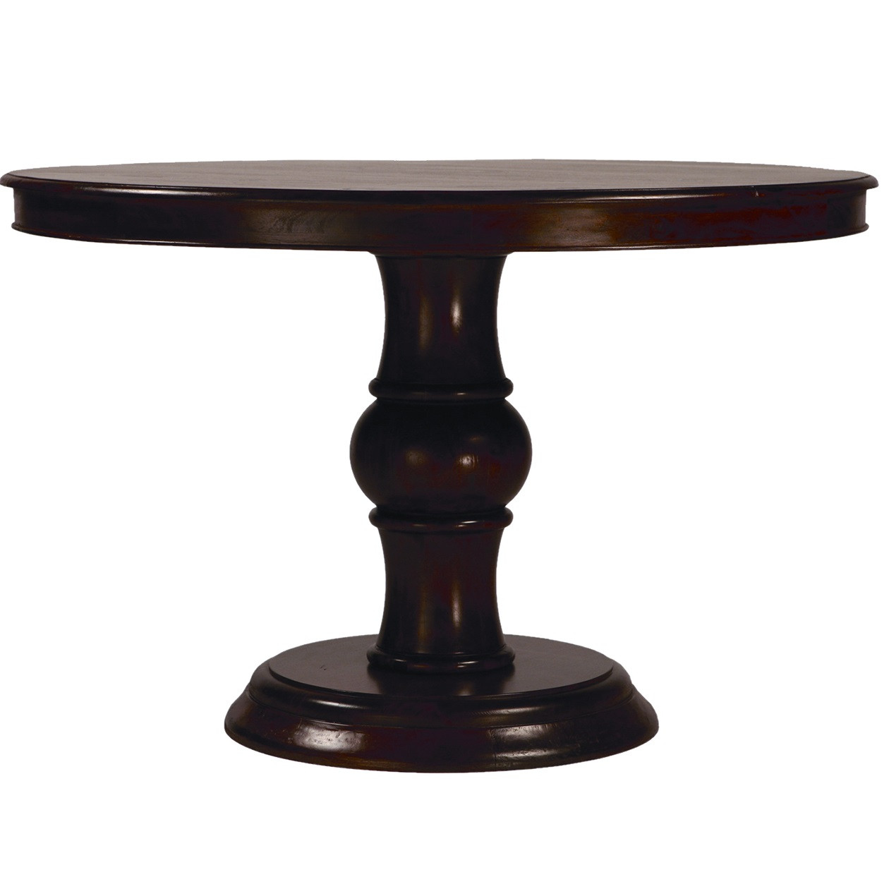 Lauren dark wood round pedestal dining table 47 zin home for Dark wood dining table
