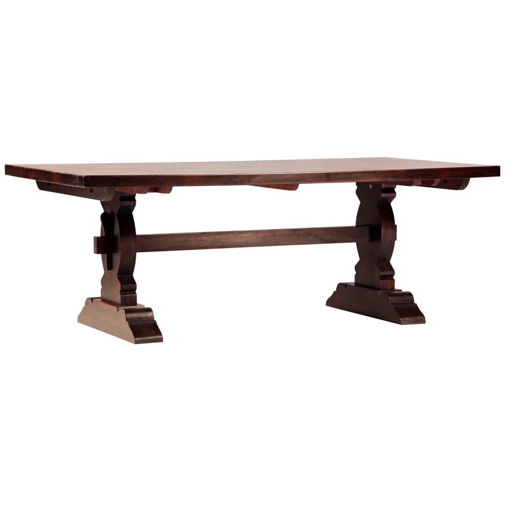 Cordoba dark wood trestle extension dining table 120 for Large dark wood dining table