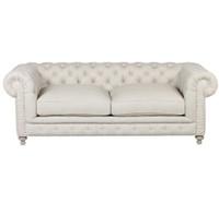"""Bespoke Finn Cigar Club 90"""" Linen Upholstered Chesterfield Sofa"""