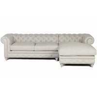 Finn Cigar Club Tufted Linen Chesterfield Sectional Sofa