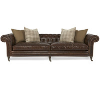 Lauren Cigar Club Tufted Leather Chesterfield Sofa with Nailhead