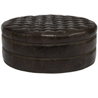 Nora Grand Tufted Round Leather Ottoman