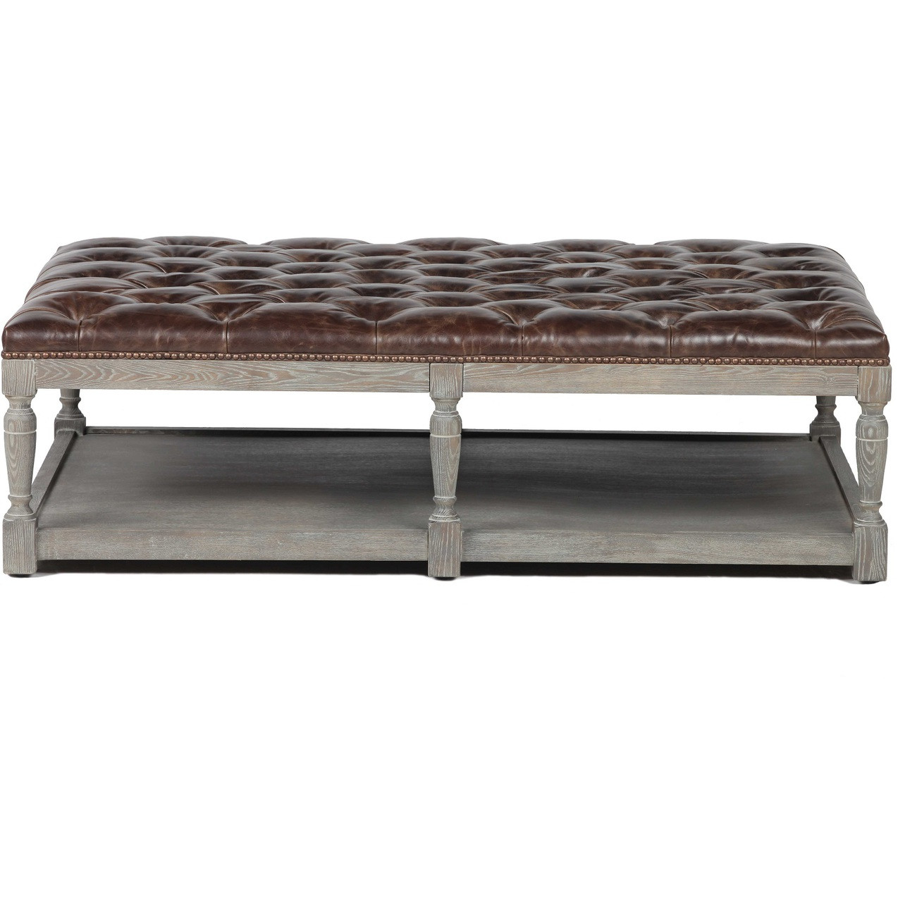 Thomas Chesterfield Tufted Leather Coffee Ottoman Zin Home