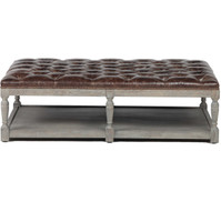 Thomas Chesterfield Tufted Leather Coffee Ottoman