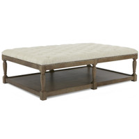 Thomas Chesterfield Tufted Beige Linen Coffee Ottoman