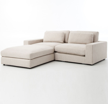 Bloor beige contemporary 3 piece small sectional sofa for Small beige sectional sofa