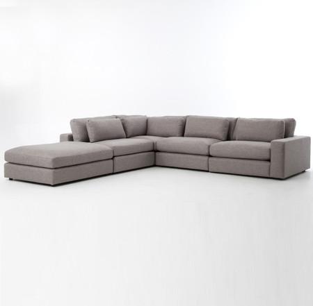 Bloor Gray Contemporary 5 Piece Corner Sectional Sofa