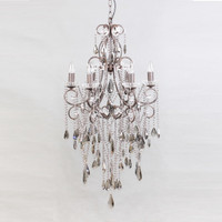 Charlotte Smoked Crystal 6 Light Chandelier