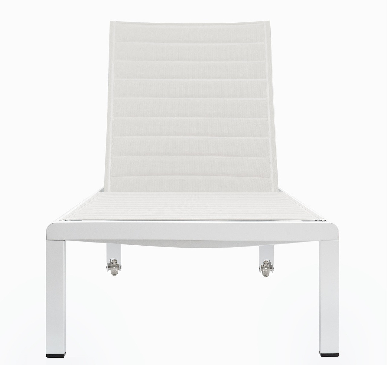 Modern outdoor chaise -  Ribbed White Modern Outdoor Chaise Lounge