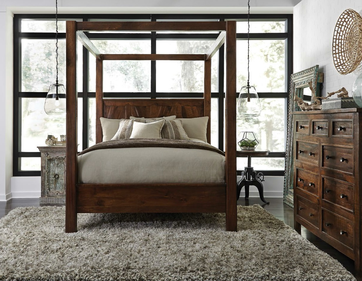 Kosas Solid Wood Canopy King Bed Zin Home