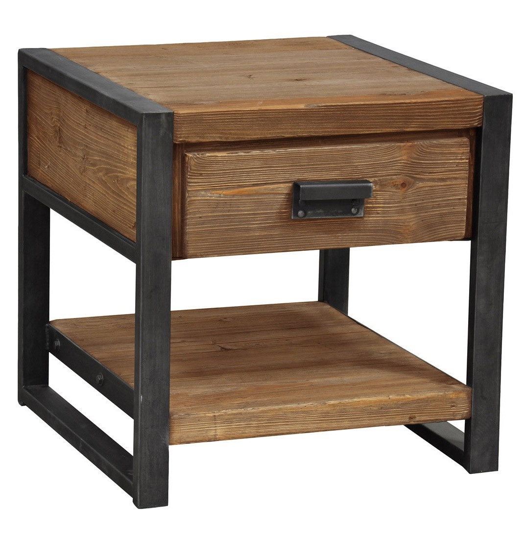 Rustic industrial 1 drawer end table zin home for Rustic industrial end table