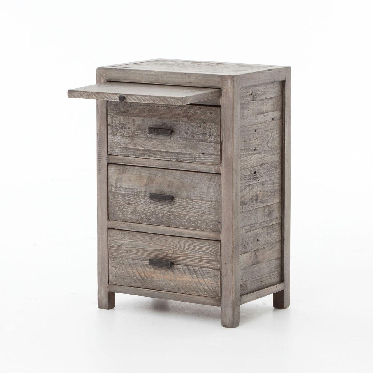 Caminito Grey Reclaimed Wood 3 Drawers Nightstand Zin Home