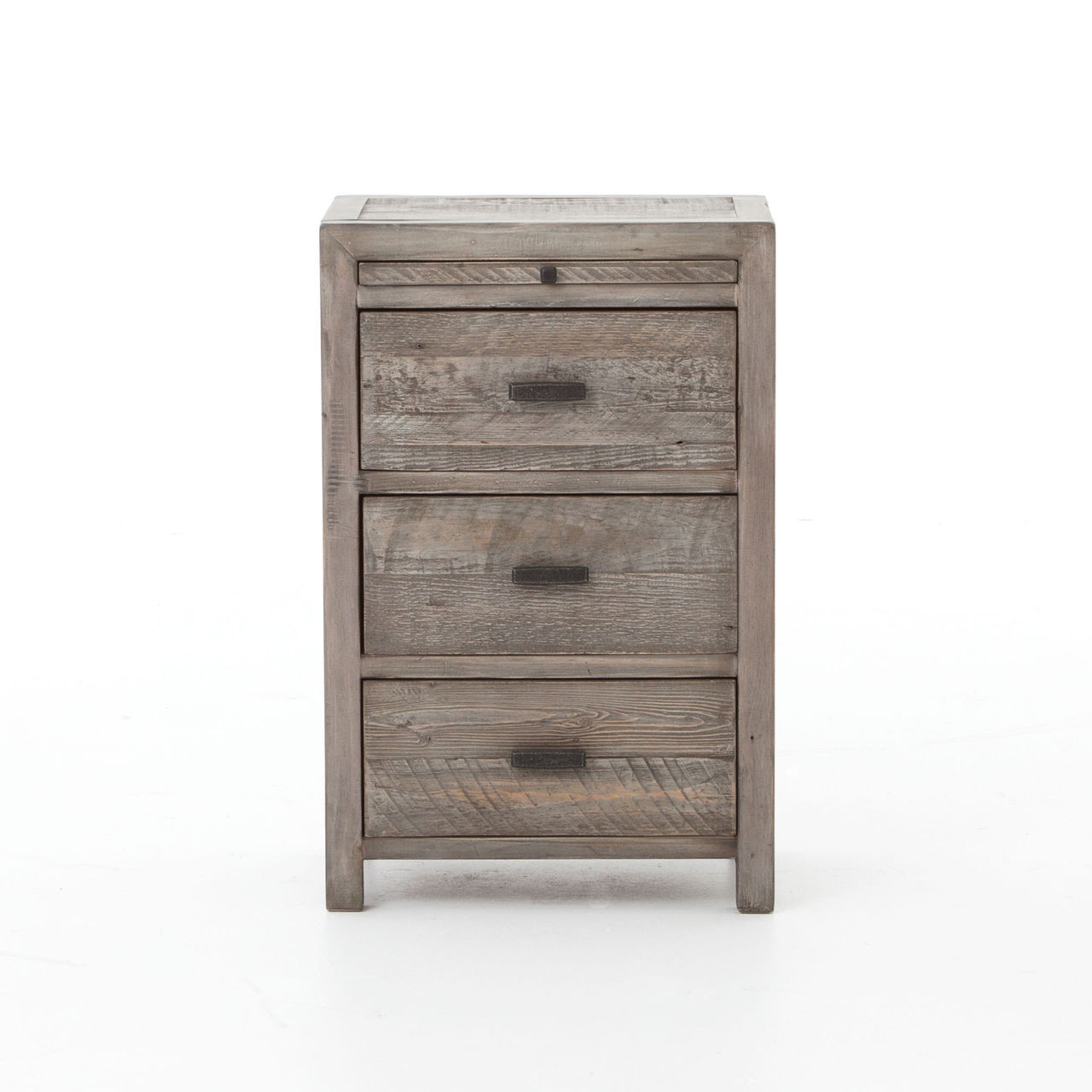 ... Caminito Reclaimed Wood 3 Drawers Nightstand, Grey ... - Caminito Grey Reclaimed Wood 3 Drawers Nightstand Zin Home