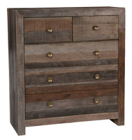 Omni Angora Storm Reclaimed Wood 5 Drawer Chest