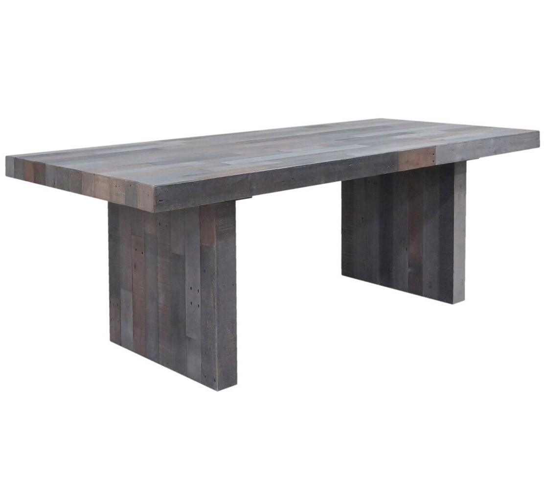 gray wood dining table grey wood kitchen table Angora Storm Reclaimed Wood Dining Table 82