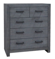 Angora Ash Gray Reclaimed Wood 5 Drawer Tall Boy Chest