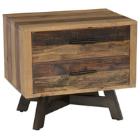 Farmhouse 2 Drawer Reclaimed Wood Nightstand