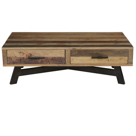 Farmhouse Reclaimed Wood Coffee Table With 2 Drawers Zin