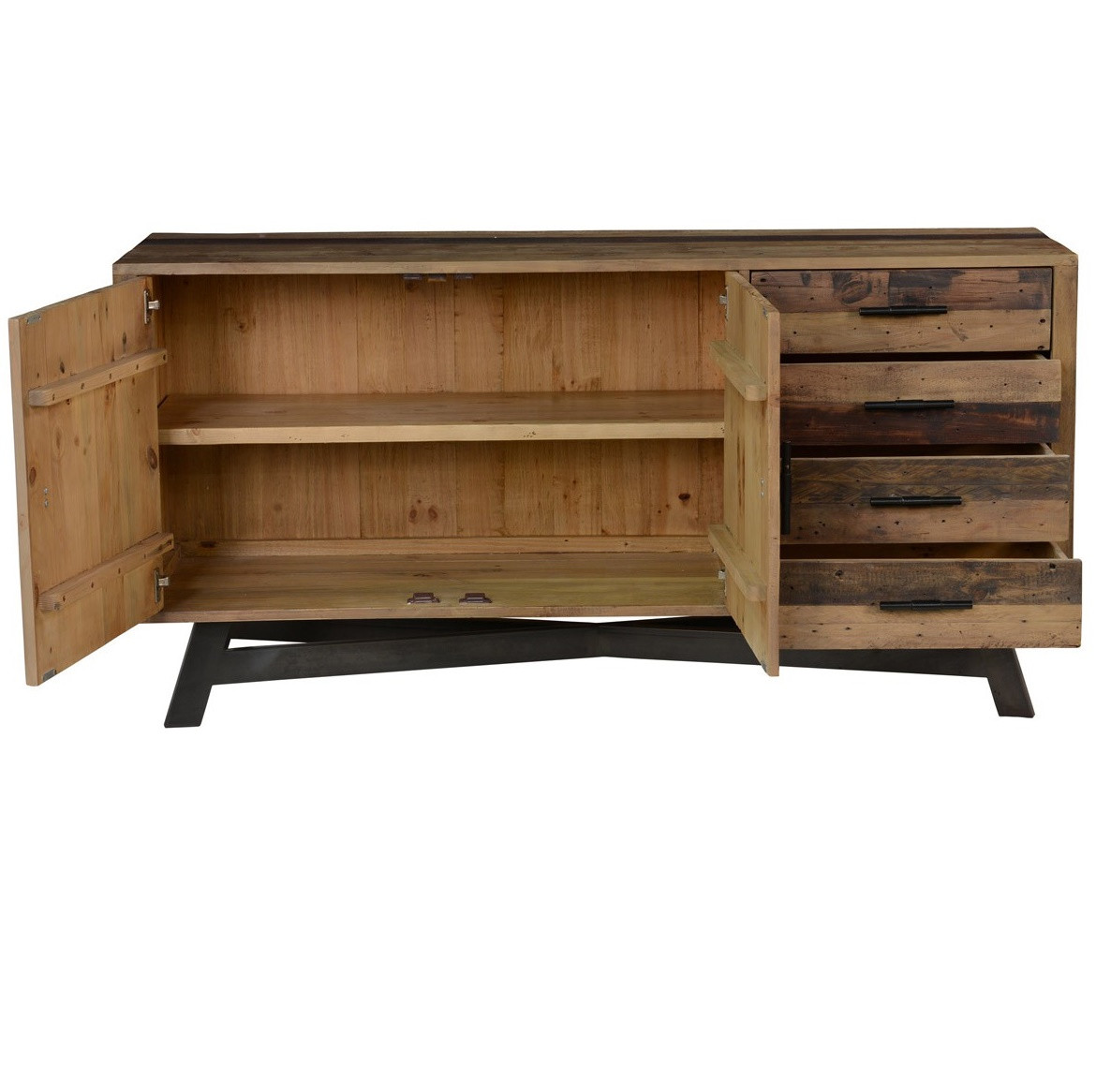... Solid Wood Sideboard Buffet with Doors - Farmhouse Rustic Reclaimed Wood Sideboard Buffet Zin Home