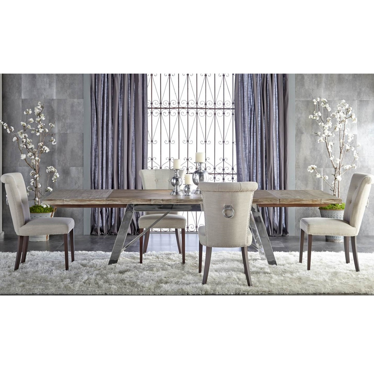 Gray Extension Dining Table With Stainless Steel Legs