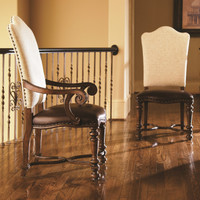 Bolero Upholstered Back Side Chair with Leather Seat, Nailheads