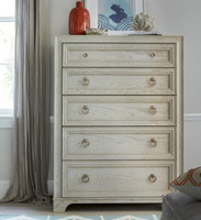 California Rustic White Oak 5 Drawer Tall Chest