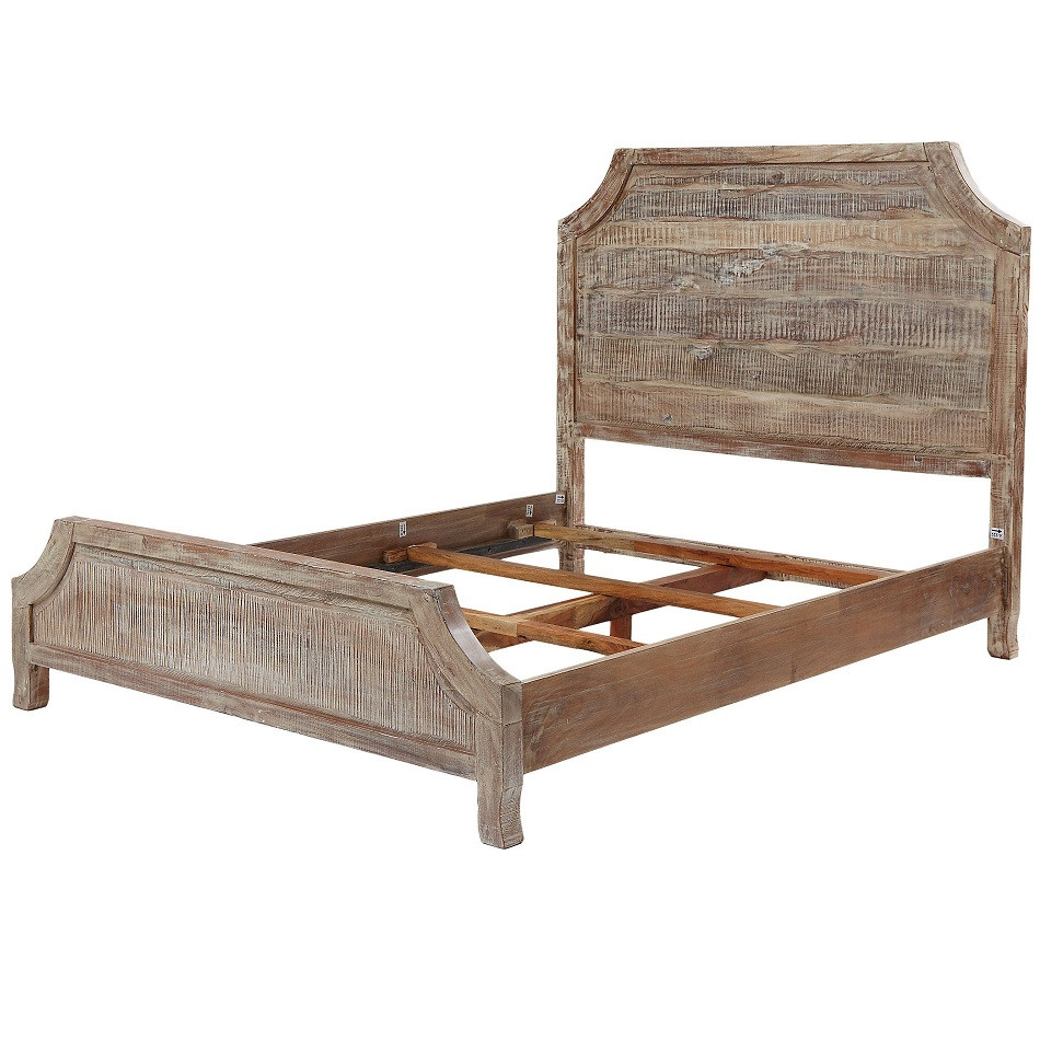 rustic reclaimed wooden grey finish aria queen size bed frame