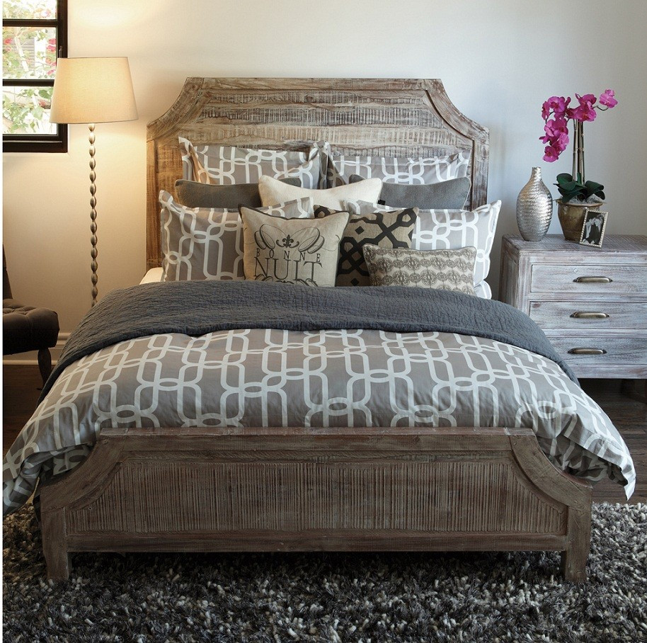 Reclaimed Wood Aria Queen Bed Rustic Grey Zin Home