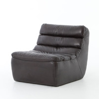 English Magna Rider Black Leather Armless Chair