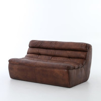 Magna Antique Whiskey Leather 2 Seater Armless Sofa